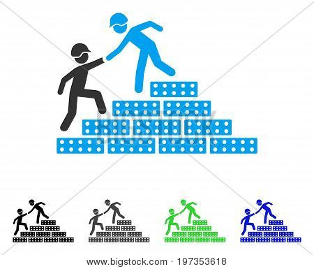 Builder Stairs Help flat vector pictogram. Colored builder stairs help gray, black, blue, green icon variants. Flat icon style for web design.