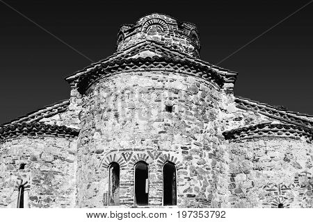 Church of St. John in Nessebar, Bulgaria black and white photo. Built in the late tenth century.