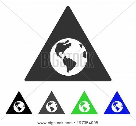 Earth Warning flat vector pictograph. Colored earth warning gray, black, blue, green icon versions. Flat icon style for graphic design.