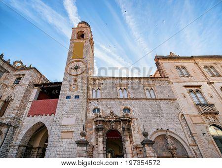 Belfry In Stradun Street In Old City Dubrovnik