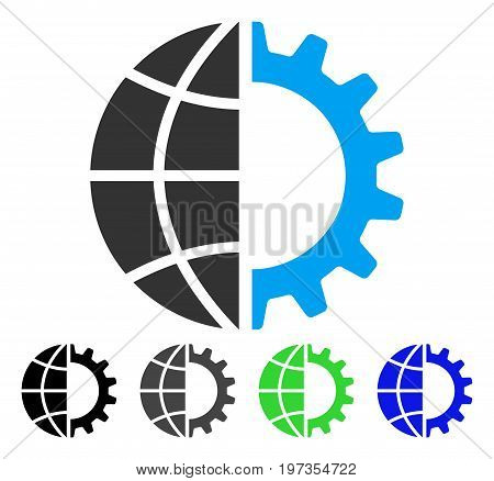 Global Industry flat vector icon. Colored global industry gray, black, blue, green icon versions. Flat icon style for graphic design.