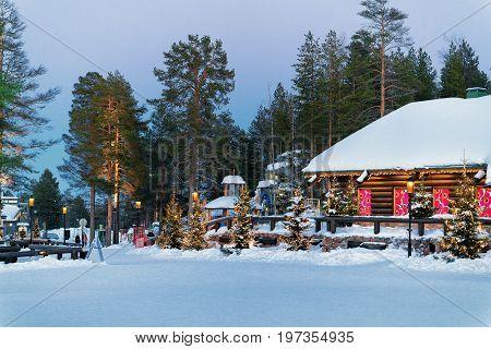 Santa Claus Village In Lapland Scandinavia Evening