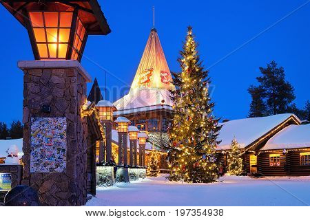 Santa Claus Village In Lapland Scandinavia At Night