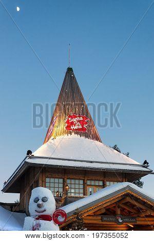 Santa Claus Office In Santa Village Finnish Lapland Scandinavia Sunset