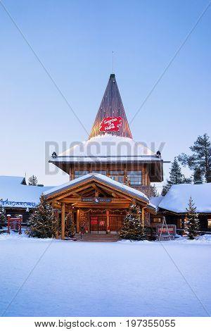 Santa Claus Office In Santa Village Finnish Lapland Scandinavia Dusk