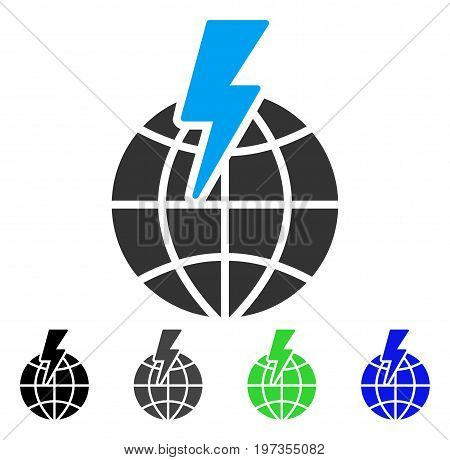 Global Shock flat vector icon. Colored global shock gray, black, blue, green icon variants. Flat icon style for graphic design.