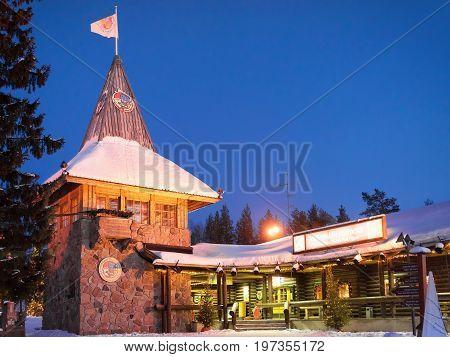 Santa Claus Main Post Office At Lapland Scandinavia At Night