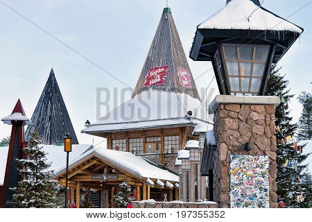 People In Santa Claus Village In Lapland Scandinavia