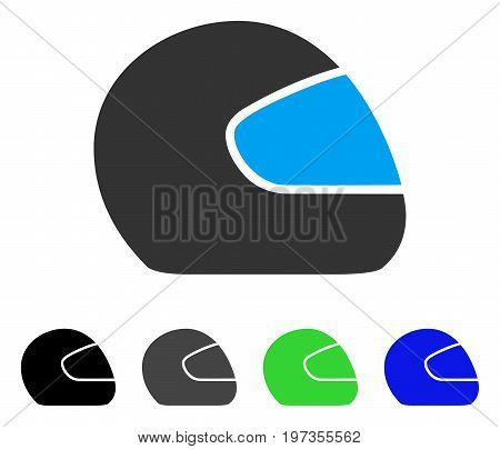 Motorcycle Helmet flat vector pictogram. Colored motorcycle helmet gray, black, blue, green pictogram versions. Flat icon style for application design.