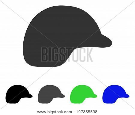 Motorcycle Helmet flat vector icon. Colored motorcycle helmet gray, black, blue, green icon versions. Flat icon style for application design.