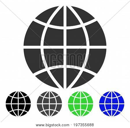 Planet Globe flat vector icon. Colored Planet globe gray, black, blue, green pictogram variants. Flat icon style for graphic design.