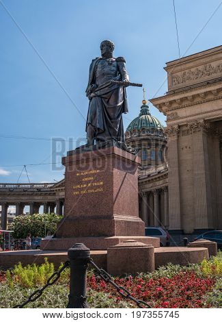 Saint Petersburg, Russia - June 17, 2017: the Monument to Barclay de Tolly in front of Kazan Cathedral. Established in 1837 under the project of sculptor Orlovsky.