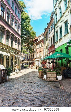 Narrow Street In Historical Center Of Riga Baltic