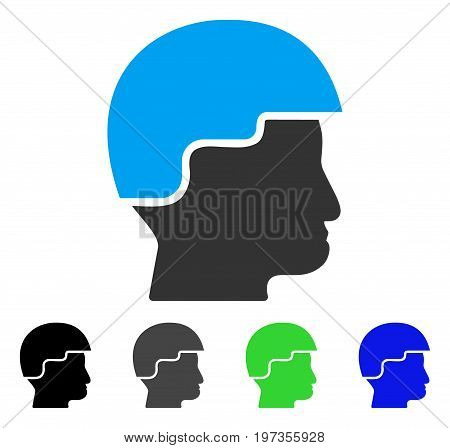 Soldier Helmet flat vector illustration. Colored soldier helmet gray, black, blue, green icon versions. Flat icon style for graphic design.