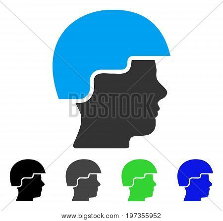 Soldier Helmet flat vector pictogram. Colored soldier helmet gray, black, blue, green icon versions. Flat icon style for application design.