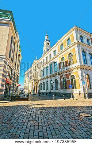City Council In City Hall Square In Riga Baltic