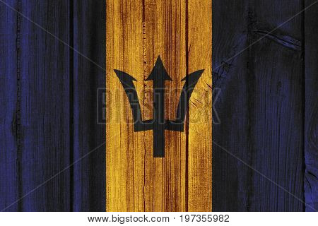 Barbados Flag Painted On Wooden Wall For Background