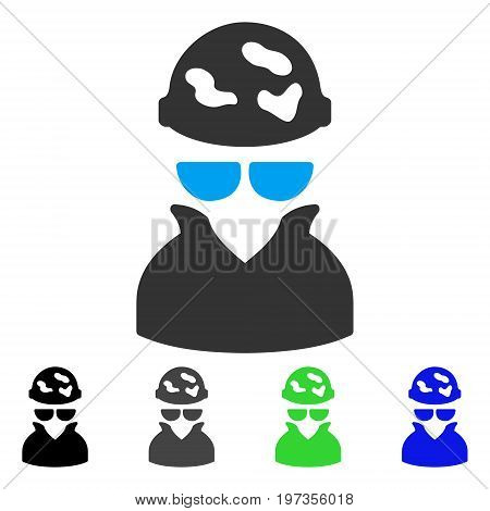 Spotted Spy flat vector illustration. Colored spotted spy gray, black, blue, green pictogram versions. Flat icon style for web design.
