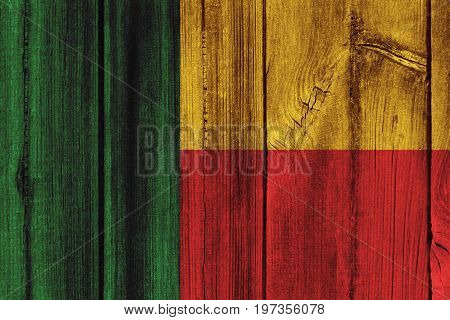 Benin Flag Painted On Wooden Wall For Background