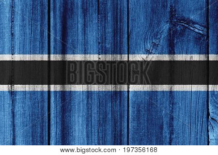 Botswana Flag Painted On Wooden Wall For Background