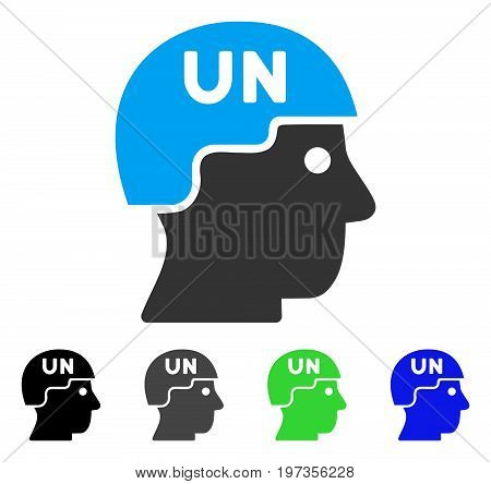 United Nations Soldier Helmet flat vector pictograph. Colored united nations soldier helmet gray, black, blue, green icon variants. Flat icon style for web design.