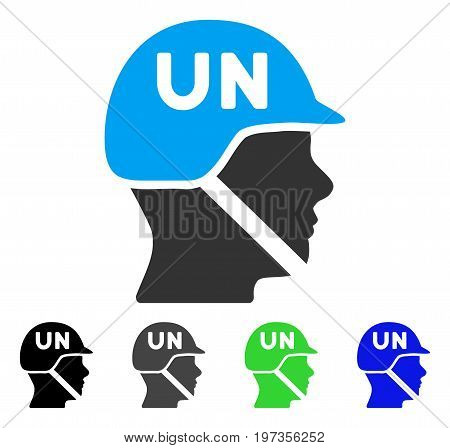 United Nations Soldier Helmet flat vector pictogram. Colored united nations soldier helmet gray, black, blue, green pictogram versions. Flat icon style for web design.