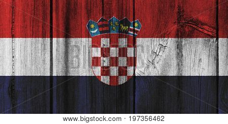 Croatia Flag Painted On Wooden Wall For Background