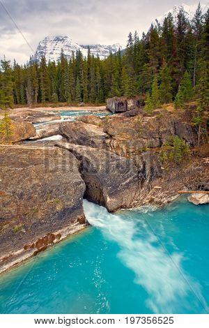 The Natural Bridge in Yoho National Park, Canada on an overcast day