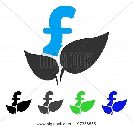 Agriculture Pound Startup flat vector pictogram. Colored agriculture pound startup gray, black, blue, green icon variants. Flat icon style for graphic design.