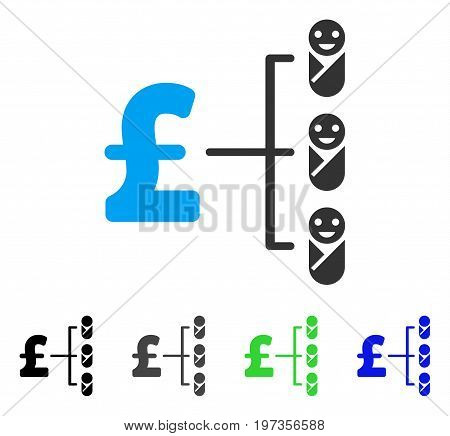 Baby Pound Budget flat vector pictogram. Colored baby pound budget gray, black, blue, green pictogram versions. Flat icon style for graphic design.
