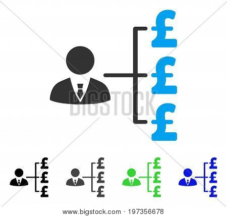 Banker Pound Payments flat vector illustration. Colored banker pound payments gray, black, blue, green pictogram versions. Flat icon style for graphic design.