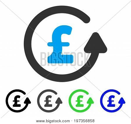 Chargeback Pound flat vector pictograph. Colored chargeback pound gray, black, blue, green icon variants. Flat icon style for web design.