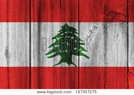 Lebanon Flag Painted On Wooden Wall For Background