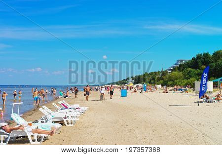 People At Baltic Sea In Jurmala Resort