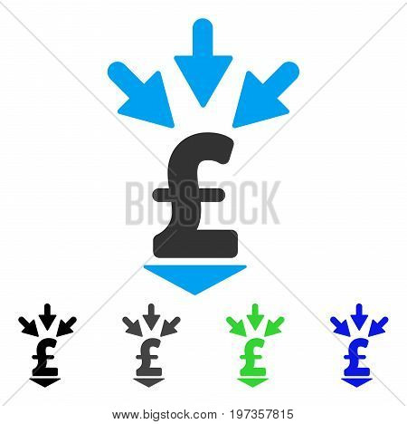 Integrate Pound Payment flat vector pictogram. Colored integrate pound payment gray, black, blue, green pictogram versions. Flat icon style for graphic design.