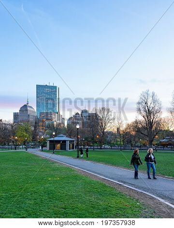People At Boston Common Public Park Downtown Boston America