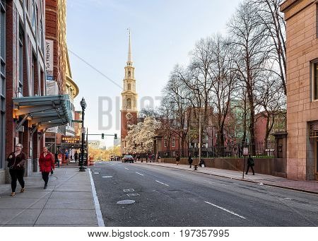 Park Street Church In Tremont Street Downtown Boston Ma America
