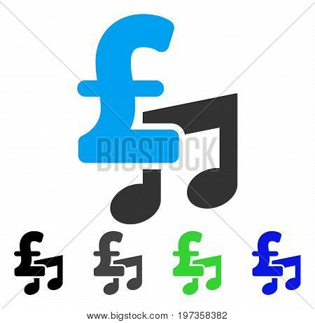 Music Pound Price flat vector pictogram. Colored music pound price gray, black, blue, green pictogram variants. Flat icon style for application design.