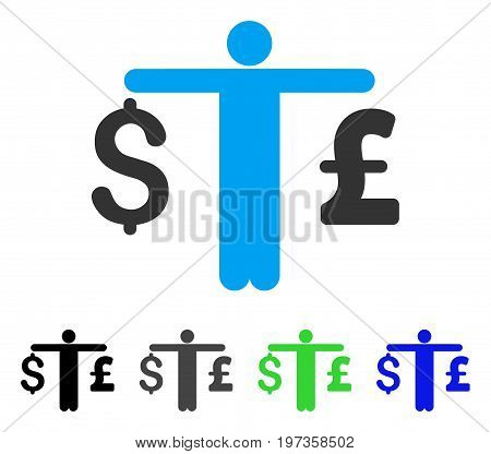 Person Compare Dollar Pound flat vector icon. Colored person compare dollar pound gray, black, blue, green icon variants. Flat icon style for web design.