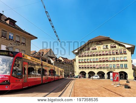 Running Tram And People On Casinoplatz In Bern Swiss