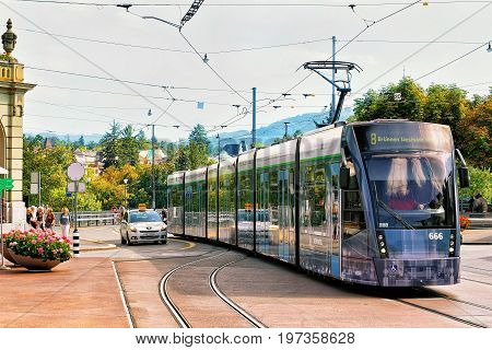 Running Tram And People At Casinoplatz In Bern Swiss