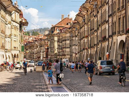 People At Kramgasse Street With Shopping Area In Bern