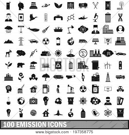 100 emission icons set in simple style for any design vector illustration