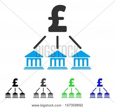 Pound Bank Organization flat vector pictograph. Colored pound bank organization gray, black, blue, green icon variants. Flat icon style for web design.