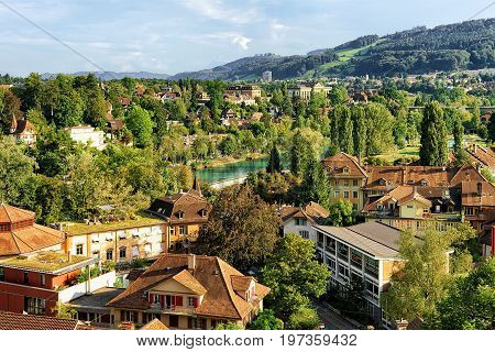 Bern City Landscape With Aare River And Buildings Swiss