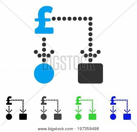 Pound Cashflow flat vector illustration. Colored pound cashflow gray, black, blue, green icon variants. Flat icon style for application design.