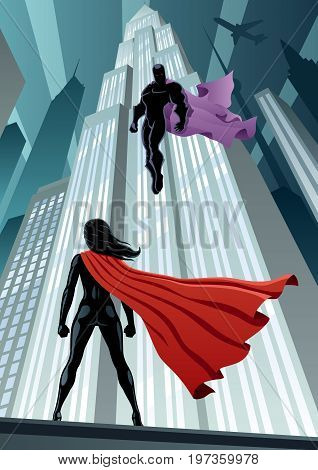 Concept illustration of super heroine facing supervillain.