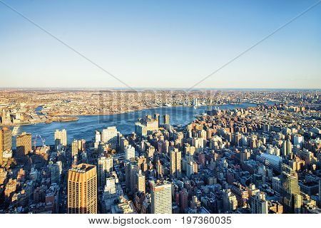Aerial View On Skyscrapers In Manhattan And Brooklyn Nyc America