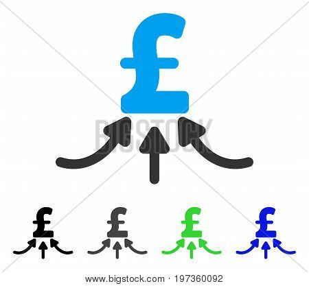 Pound Financial Accumulator flat vector illustration. Colored pound financial accumulator gray, black, blue, green icon variants. Flat icon style for graphic design.