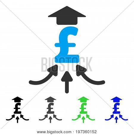 Pound Financial Aggregator flat vector pictograph. Colored pound financial aggregator gray, black, blue, green pictogram versions. Flat icon style for web design.
